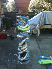Darjit Column Step 2 Old vent pipe & swimming noodles added to Welded Armature